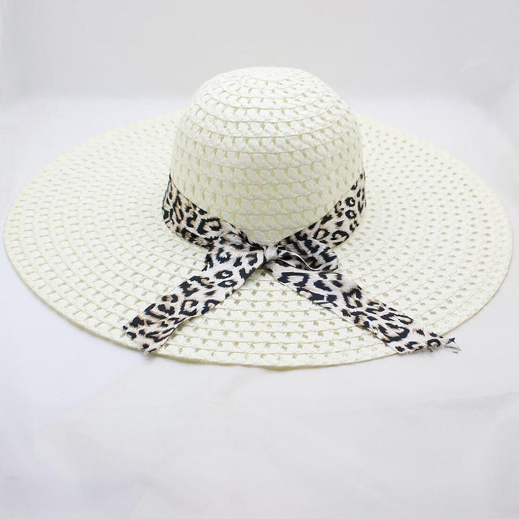 e63b12f4316e4 Sleeper  501 2019 Women Leopard Print Big Brim Straw Hat Sun Floppy Wide  Brim Hats Beach Cap 2019 Fashion Design Wide Brim Hat Tea Party Hats From  Copy04