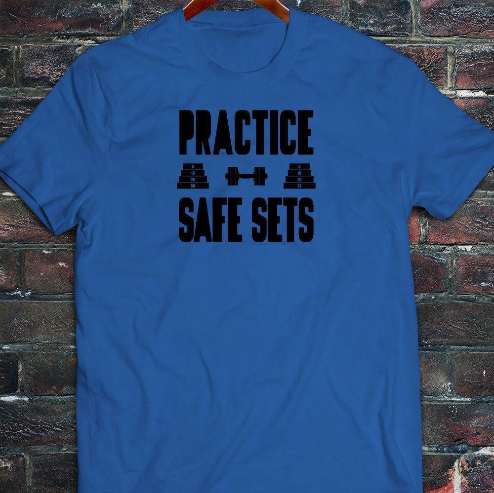 10cb1cfc6 Practice Safe Sets Black Gym Humor Lifting Gains Mens Blue T-Shirt ...