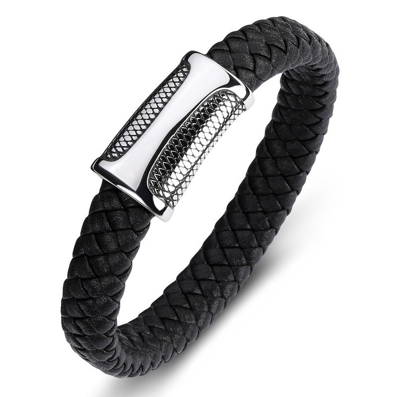 Men Jewelry Punk Braided Leather Bracelet for Men Stainless Steel Magnetic Clasp Fashion Bangles Gifts
