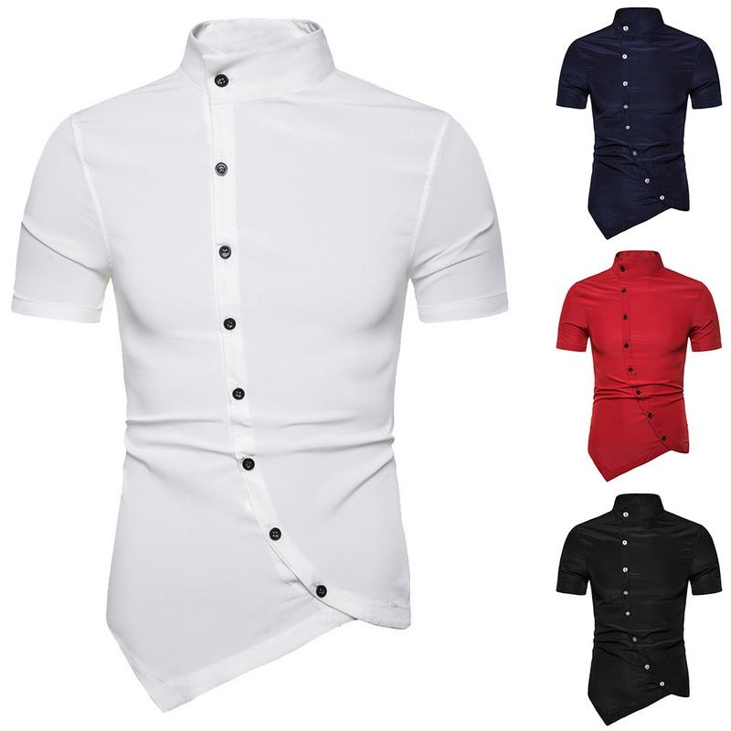 c2447f0b 2019 2019 Men Shirt Summer Personality Oblique Button Irregular Shirt Men  Hip Hop Casual New Short Sleeve Slim Fit Male Shirts From Hoeasy, $37.5 |  DHgate.