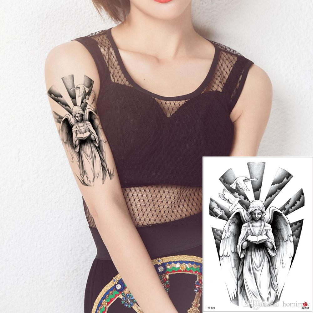 cfd2b780f Sexy Angel Wing Tattoo Fake Black Temporary Body Art Decal Bird Nun Goddess  Feather Designs Tattoo Sticker For Woman Man Waterproof Transfer Custom ...