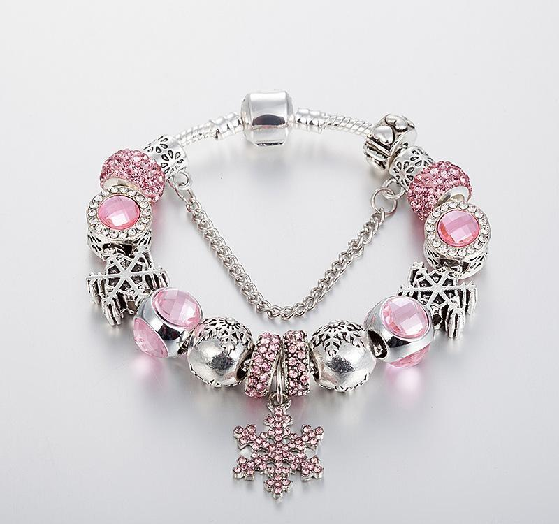 21cm Rose Gold Bracelet Come With 9  Changeable Charms Girl Women Jewellery Pink