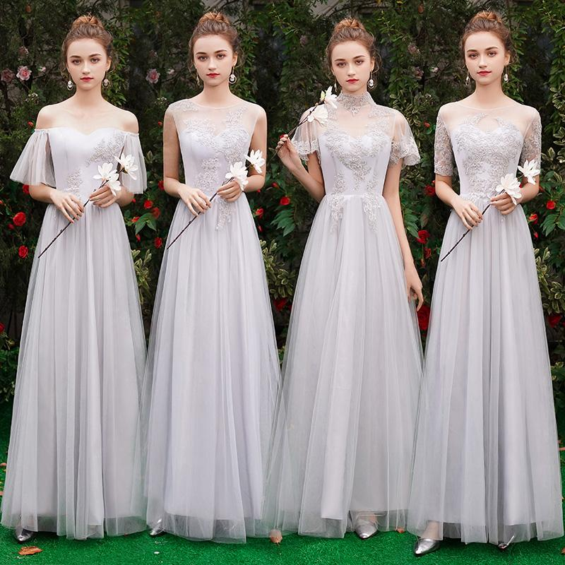 3232cf07ebe Grey Bridesmaids Dresses Long 2019 Sheer Neck Appliques Lace Maid Of Honor  Country Wedding Guest Gowns Formal Dress Cheap Royal Blue Bridesmaid Dress  Satin ...