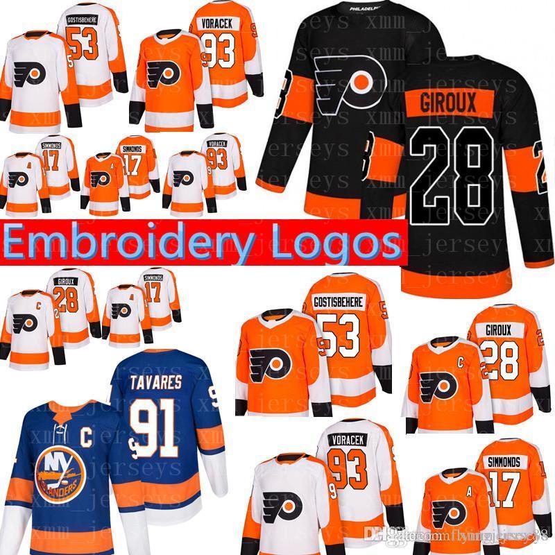 Philadelphia Flyers 17 Wayne Simmonds Hockey Jerseys 28 Claude Giroux 53 Shayne Gostisbehere 93 Jakub Voracek Jersey 2018 New Tops & Tees T-shirts