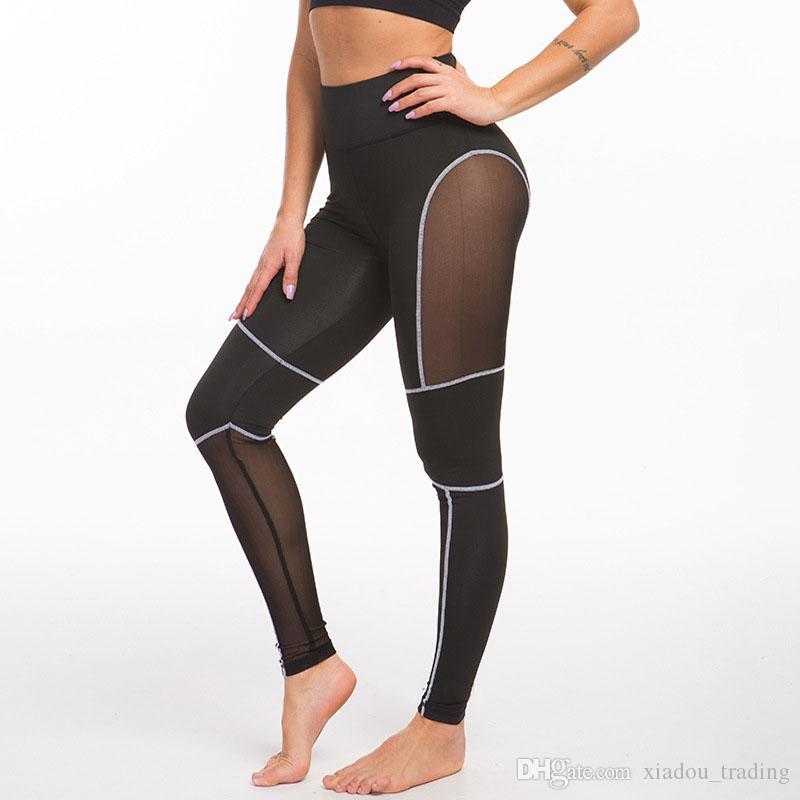 08cfe0b65a3 Compre Gimnasio Deporte Leggings Malla Patchwork Elástico Mujeres Yoga  Pantalones Medias De Compresión Fitness Mujer Correr Sportwear Pantalones  Leggings A ...