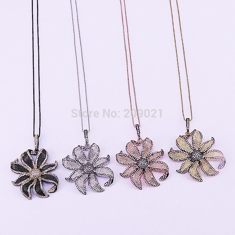 c09542e66a23 Compre 5 Unids Cubic Zirconia Micro Pave Charm Flor Colgante Collar De Alta  Calidad Joyería De Moda De Las Mujeres A  49.21 Del Youerjerry