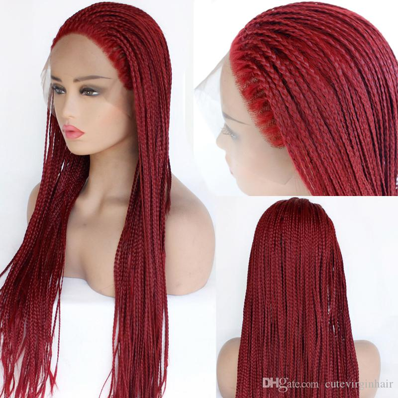 ae290012ede Wholesale Braided Lace Wigs Red Hair For Black Women Synthetic Heat  Resistant Long Braids Wig Glueless Half Hand Tied Synthetic Half Wig Katy  Perry Wig From ...