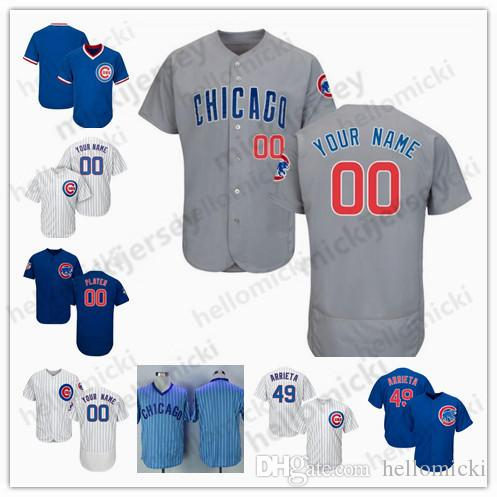 new product 8849c cdb8f Custom 2019 Cubs Jersey Chicago Javier Baez Anthony Rizzo Kris Bryant  Jersey 34 Jon Lester 10 Ron Santo Cole Hamel Men Women Youth