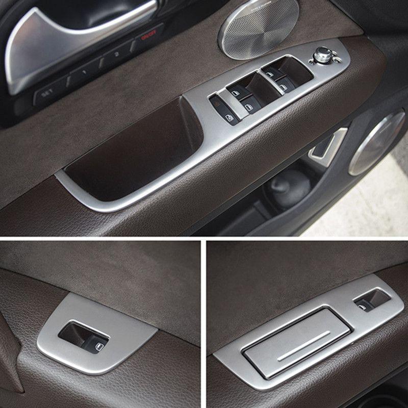 Car Door Armrest Window Lifter Switch Buttons Decoration Frame Cover Trim  7pcs For Audi Q7 2008-2015 Interior Auto Accessories