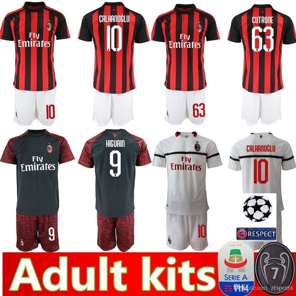 new product 12735 48a65 AC milan 18 19 soccer jersey 2018 2019 men football kit shirt HIGUAIN  PAQUETA BORINI PIATEK CALDARA CUTRONE Camisa CALHANOGLU PIATEK maillot