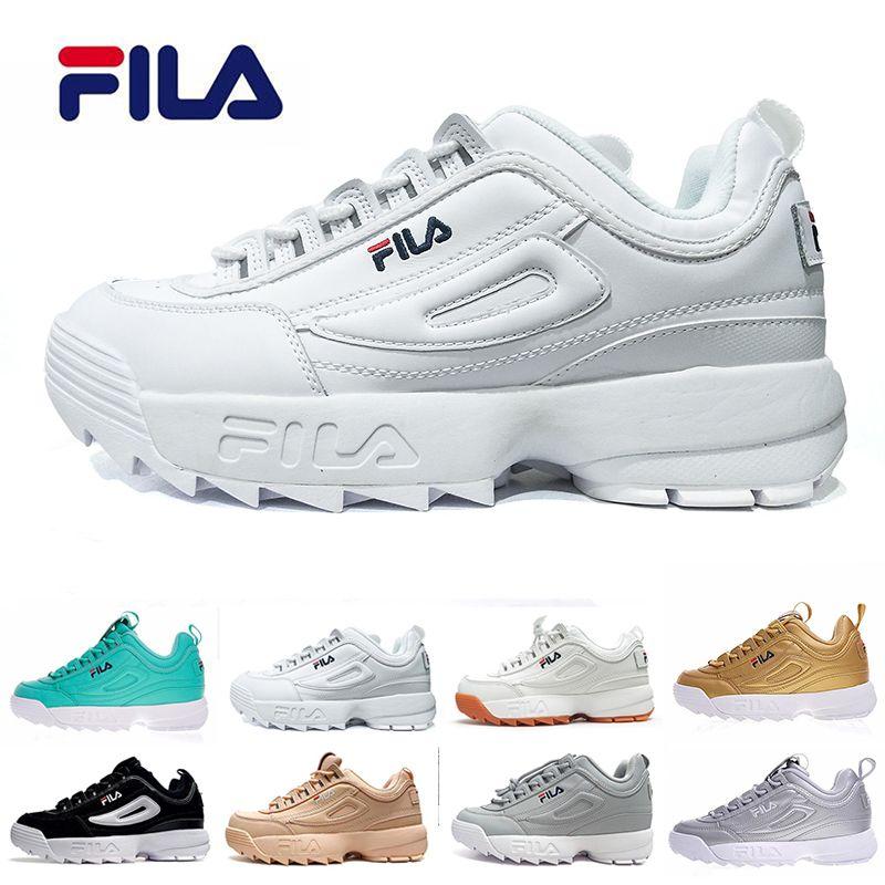 fc3a3e1fc5 Compre Todo Branco Original Marca Fila Sapatos Casuais De Areia De Ouro  Preto II 2 S Mulheres Homens FILE Sports Sneaker Aumentou Sapatos  Transporte Da Gota ...