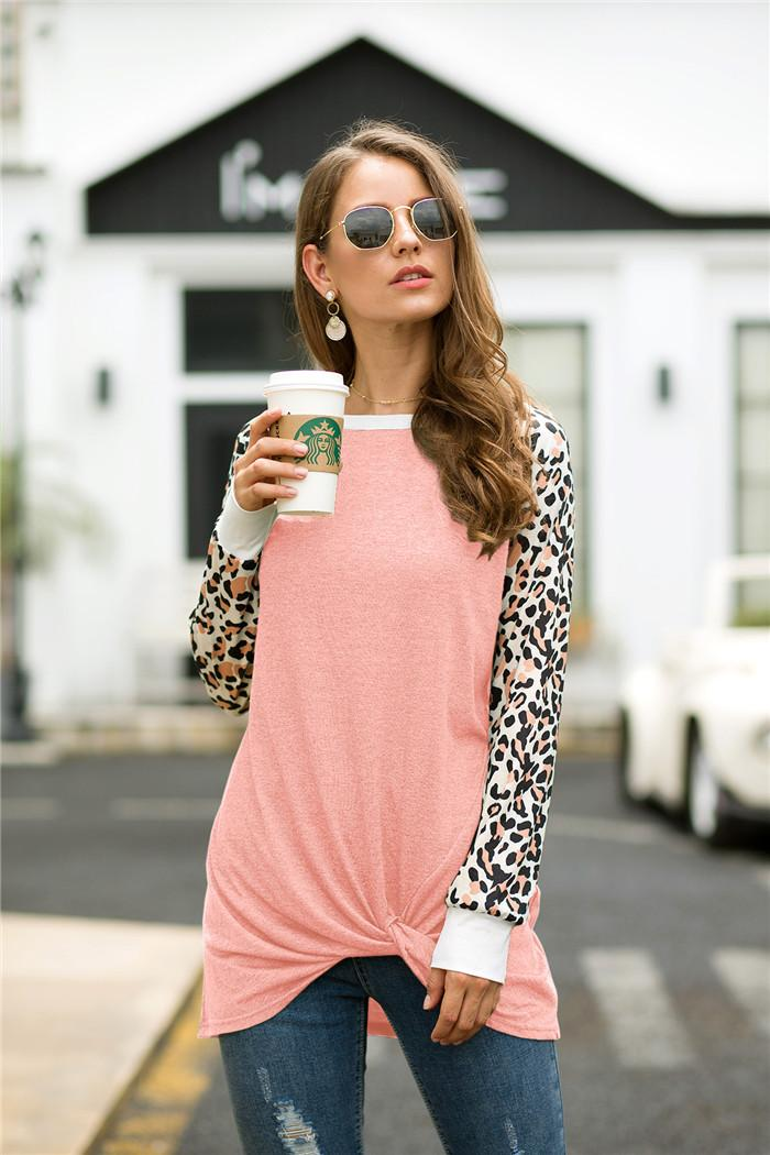 Hot Sale Women T Shirt Fashion Leopard Print Patchwork T-shirt Casual Long Sleeve Women Tops Tees Plus Size S-XXL MDL10