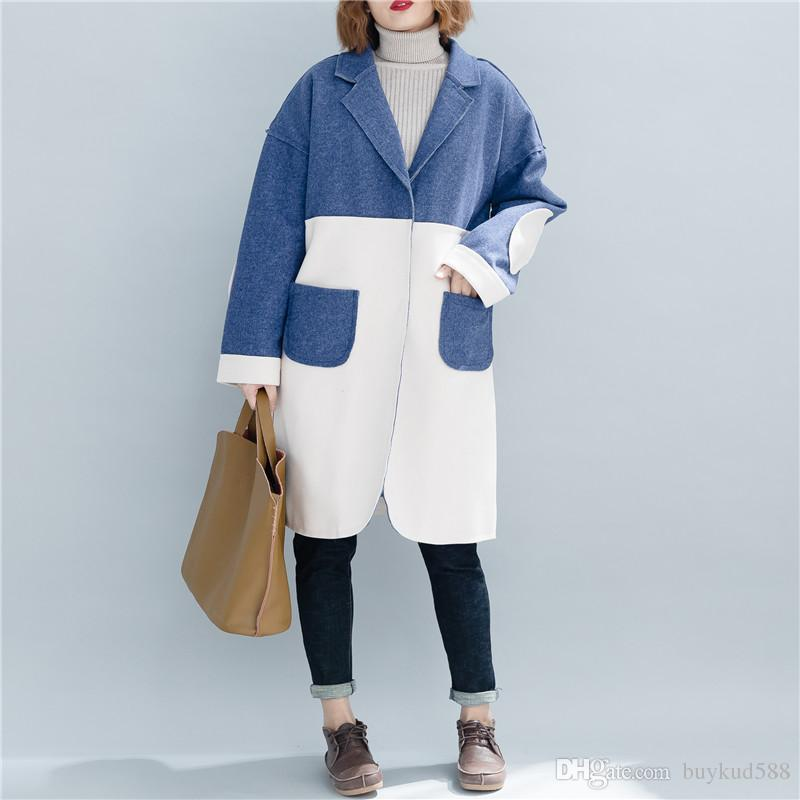 fcaa8fa840ffc Women Winter Autumn Wool Warm Coat Long Sleeve Patchwork Plus Size ...
