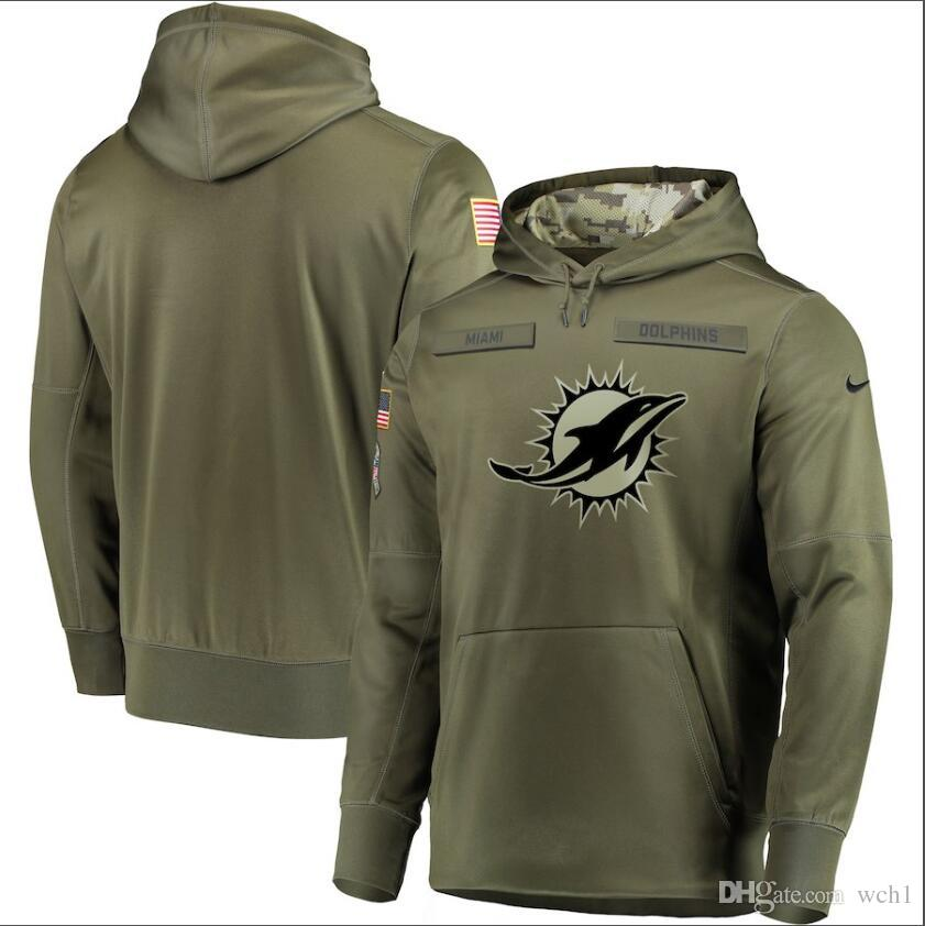uk availability fc98c 28466 2019 Men Miami Sweatshirt Dolphins Salute to Service Sideline Therma  Performance Pullover Hoodie Olive