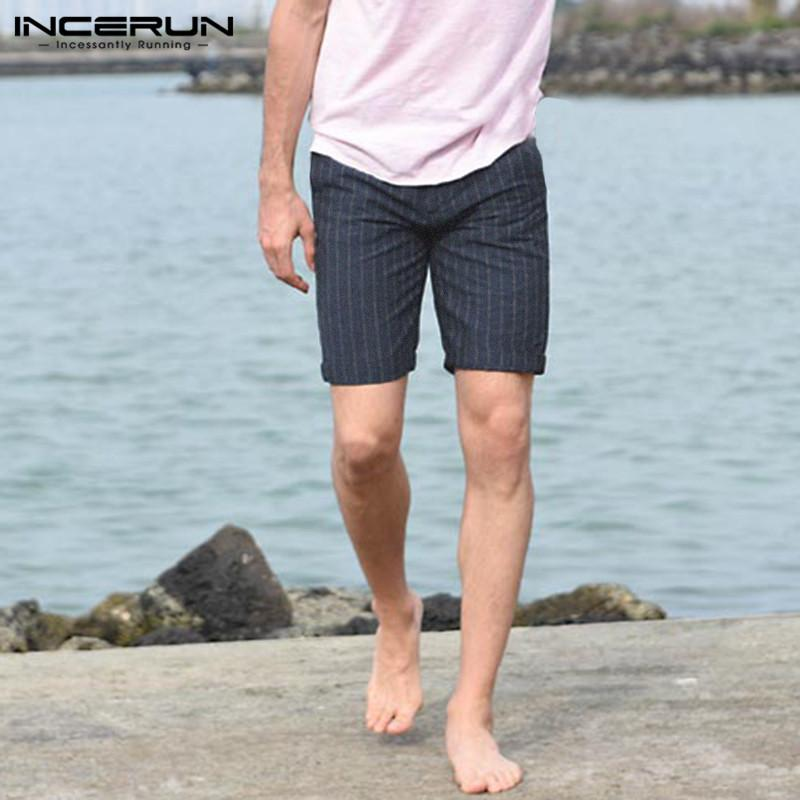 c466c450be27 2019 INCERUN 2019 Summer Bermuda Shorts Male Shorts Fashion Men Cotton Knee  Length Striped Slim Fitness Pockets 5XL Pantalon From Sunflowery, ...