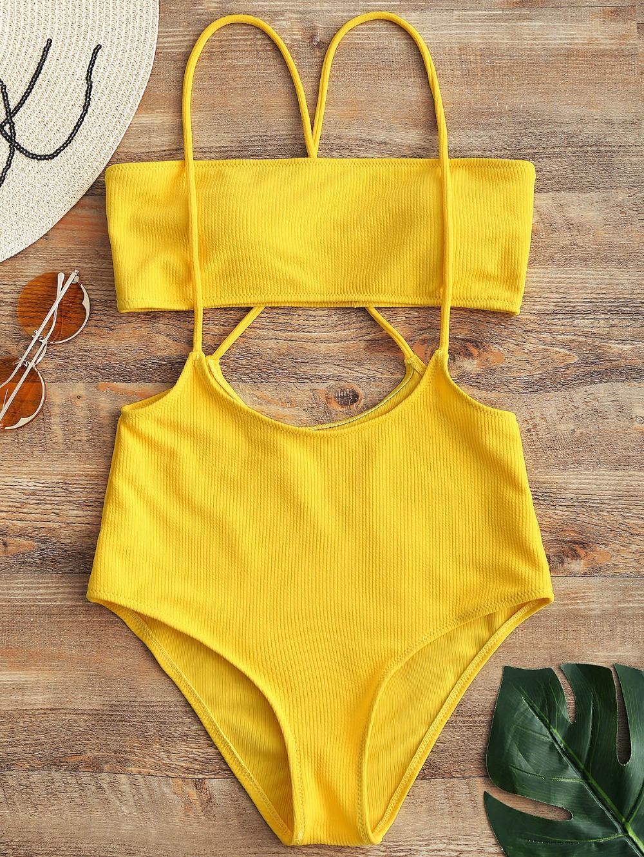 6a665cf02b645 2019 Swim Bikinis Set Swimsuit New Arrival Women Strapless Top And High  Rise Cami Swim Bottoms Brazilian Biquni Beach Swimwear From Sport_11, ...