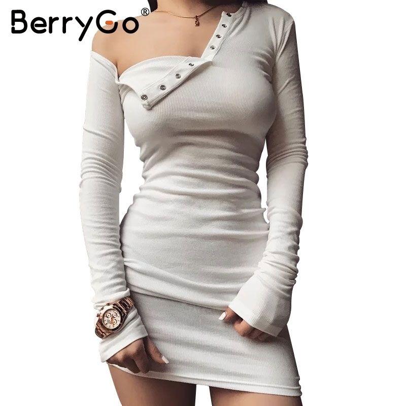 timeless design 2004b 1c08d Berrygo Elegant Schulterfrei, Figurbetontes Kleid Langarm Abendkleid Weißes  Kleid Frauen Herbst Winter Schwarz Sexy Kleid Q190402