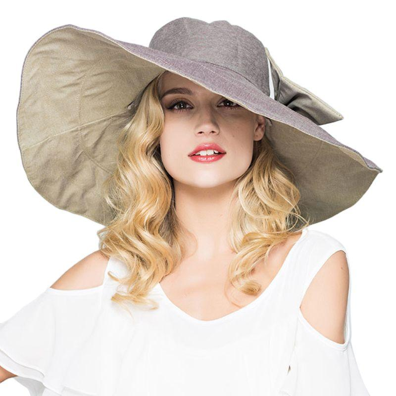 4b016e761 Womens UPF 50 Foldable Floppy Reversible Ultra Large Wide Brim Beach Sun  Hat Contrast Color Bucket Cap With Detachable Bowknot