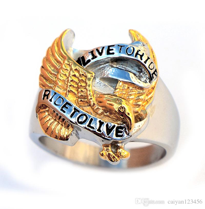 "Stainless steel never fade ring antique men jwelry punk biker the word ""ride to live""on ring Size:US 7-15#"