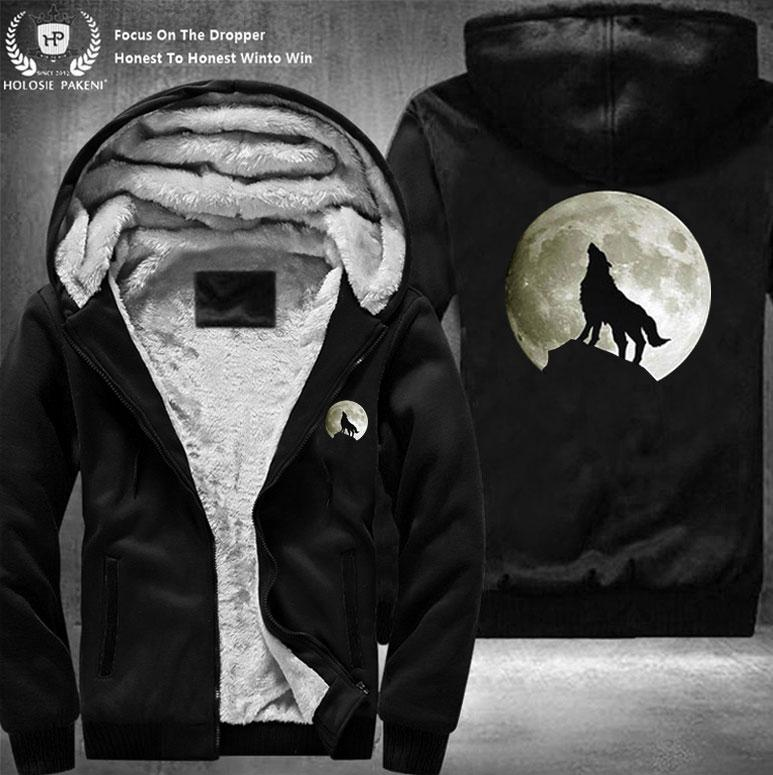 14aa3deff 2019 Dropshipping USA Size Unisex Men Wolf Moon Winter Thicken Fleece Hoodie  Zipper Sweatshirt Costume Tracksuit Made From Radishu, $60.35 | DHgate.Com