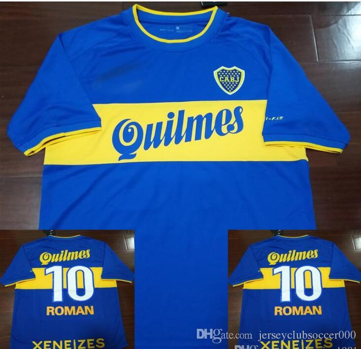 super popular b71ff 9247f 1999 2000 Boca Roman Palermo Retro Soccer Jersey Argentina 99 00 Football  Shirts Uniforms Kit Camiseta Maillot De Foot Camiseta de Futbol