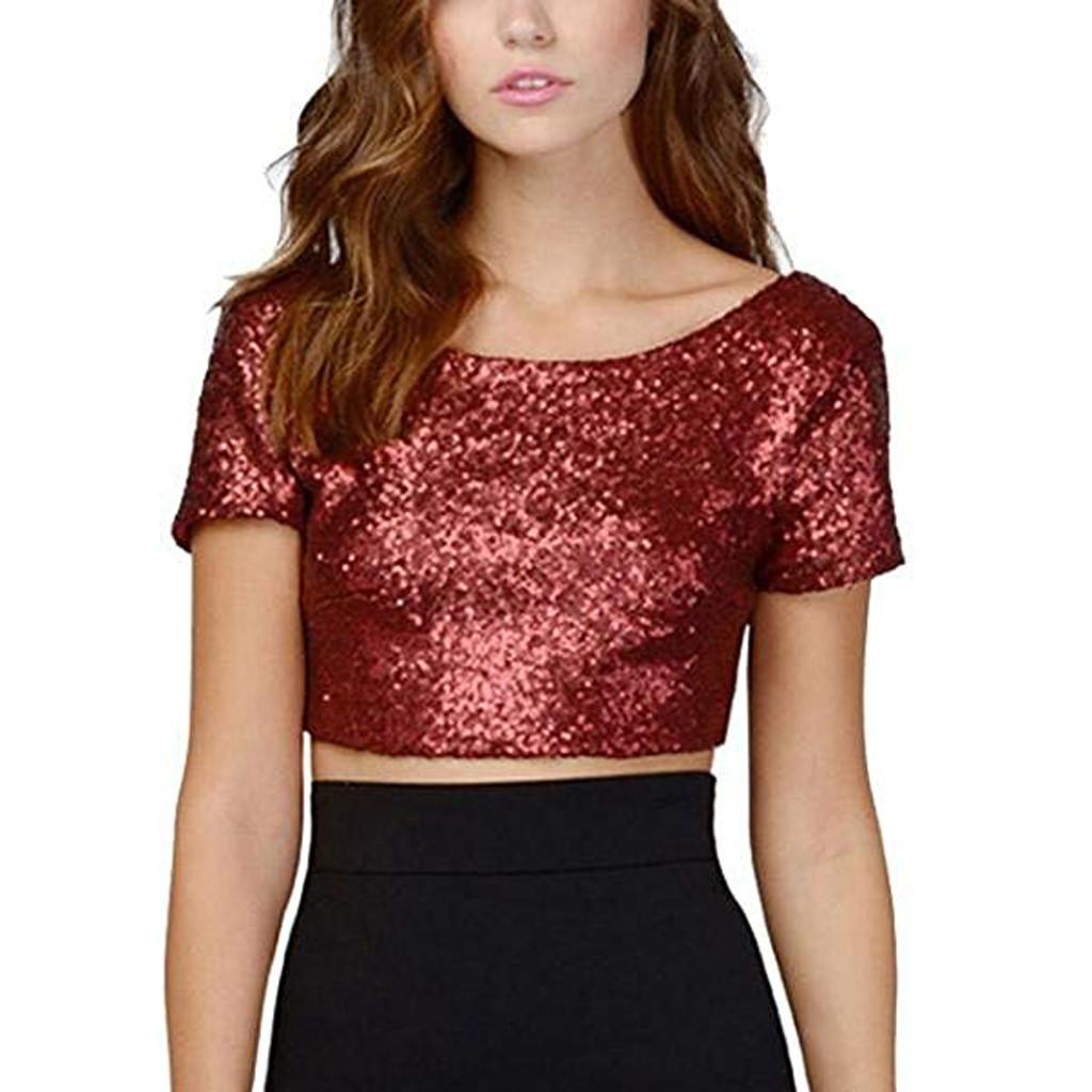 a1c8cf035424a6 Women Sexy O-Neck Solid Sequins Short Sleeve Short Navel Top Fashion Blouse  Women's Round Neck Sequin Tops chemisier