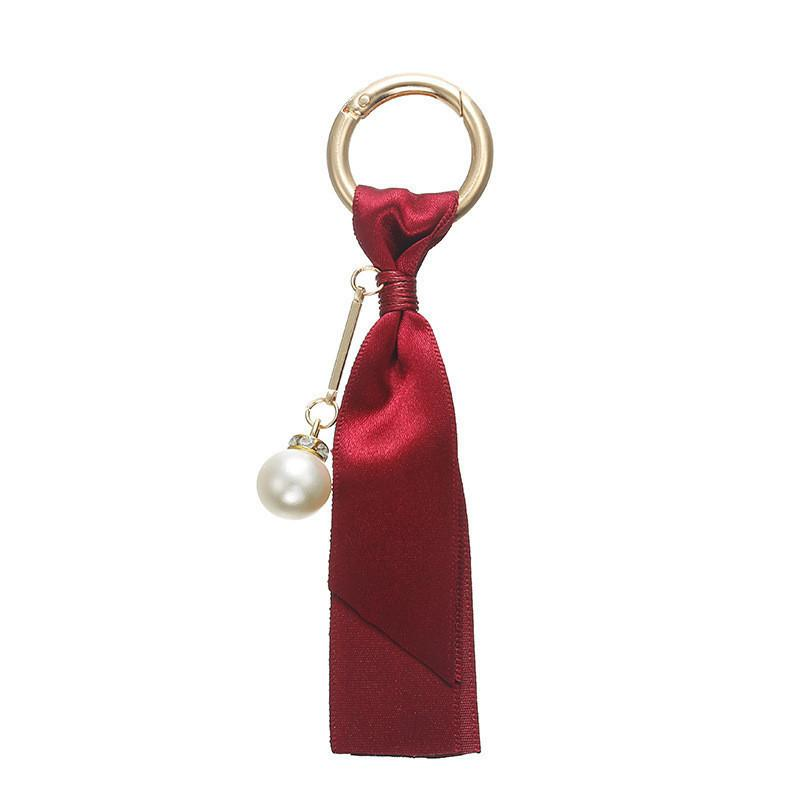 New fashion bag detachable pendant Korean ribbon women girls DIY jewelry accessories pearl satin keychain