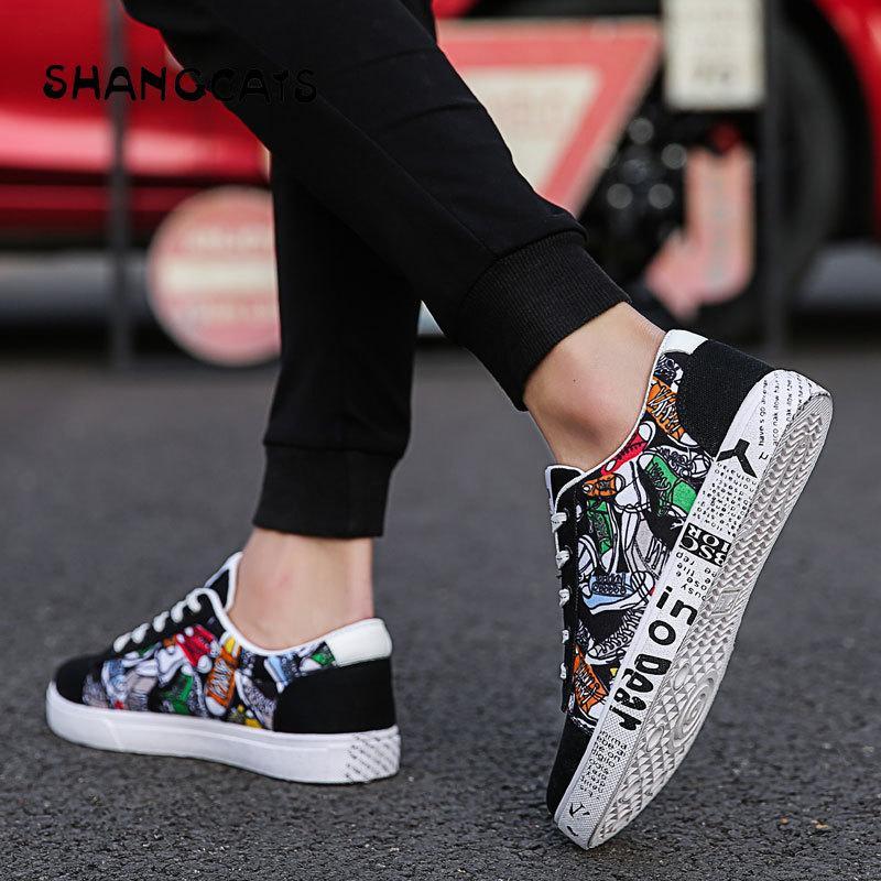 Acheter Mode Hommes Vulcanize Chaussures Graffiti Classique Homme Chaussures  À Lacets En Toile Pour Homme Chaussures Colorées Pour Garçon Tenis  Masculino ... 3fbd849e6988