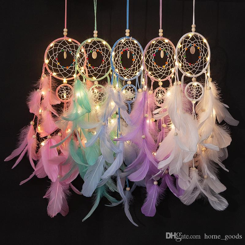Feather Pearl Lamp Shape Dream Catcher Home Decor Accessories for Kids Gift 1 Pc