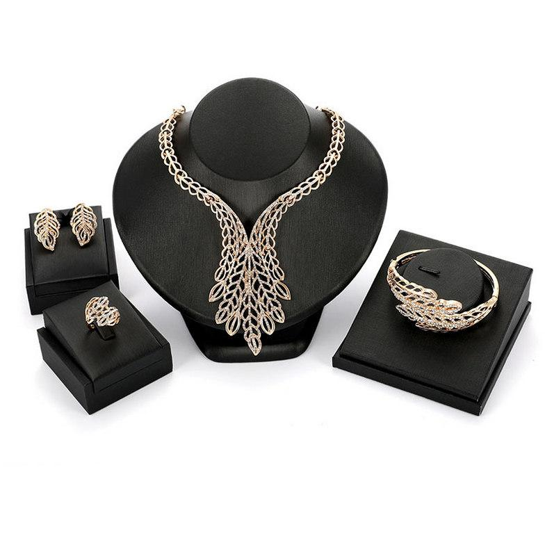 Wholesale 18K Gold Plated Alloy Leaves Wedding Jewelry Set Luxury Exaggerated Rhinestone Necklace Earrings Bracelet Ring 4-Piece Set JS556