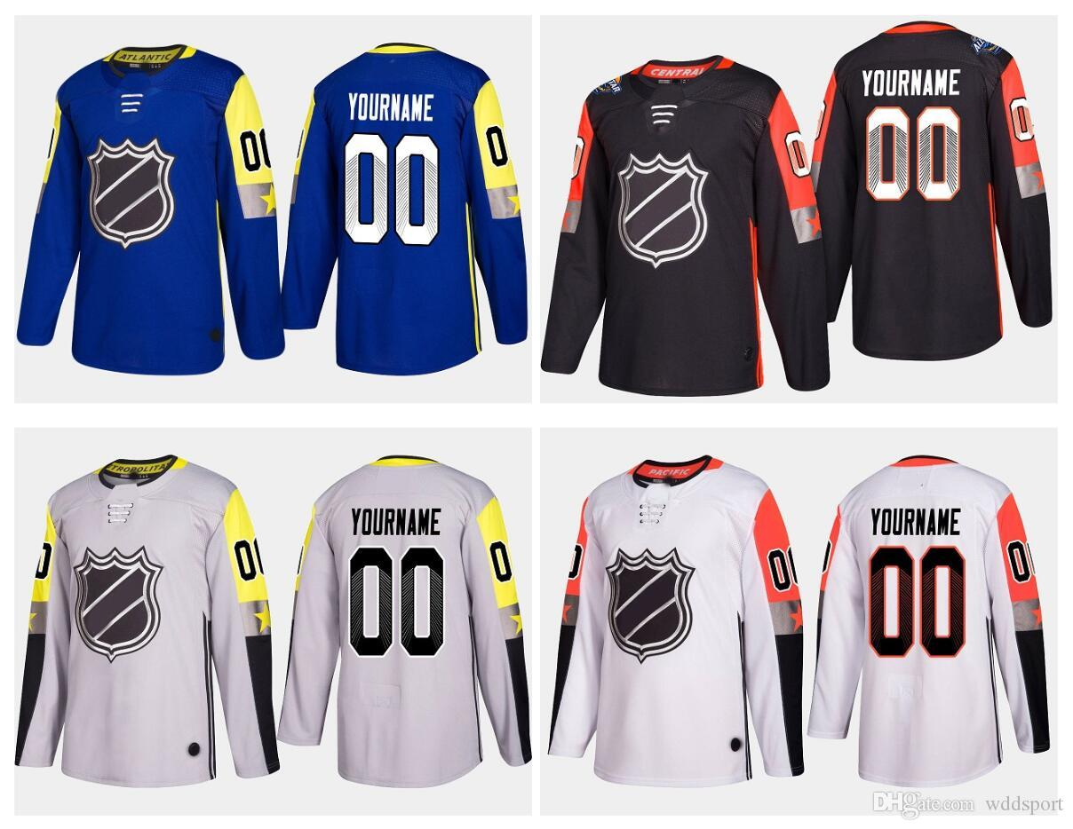 e27bc7ad0 2019 Lowest Price ! Personalized 2018 All Star Game Jerseys White Blue  Black Grey Custom Stitched Any Name Number Hockey Jersey Embroidery Logos  From ...