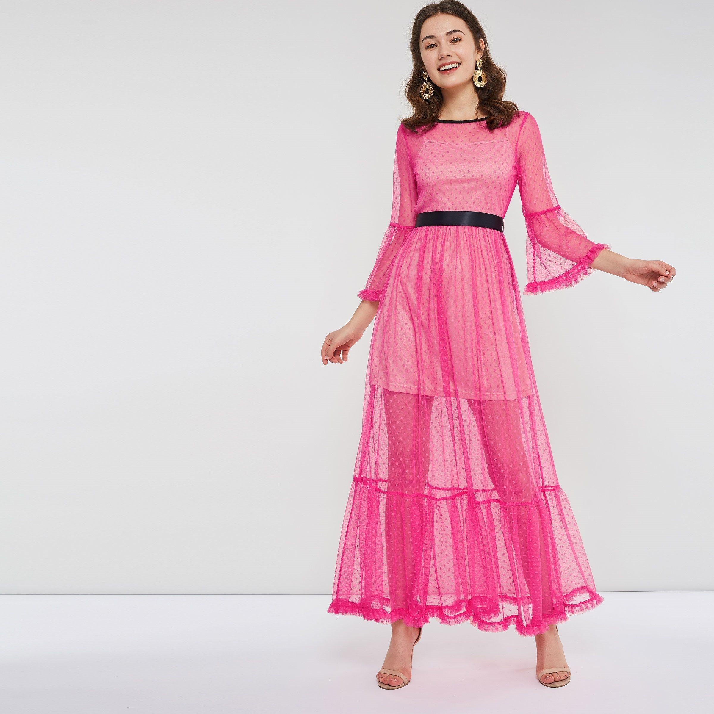 7a6cfc3fa1244 Evening Party Women Two Piece Extra Long Fuchsia Dress Spring Polka Dot  Ribbon Belt Ruffle Rose Pink Mesh Maxi Dresses C19041501