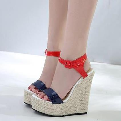 a95ba30f6f666e 15cm Luxury Women Shoes Red Blue High Heel Platform Wedges Designer Sandals  2018 Size 35 To 40 Sparx Sandals Blue Shoes From Tradingbear