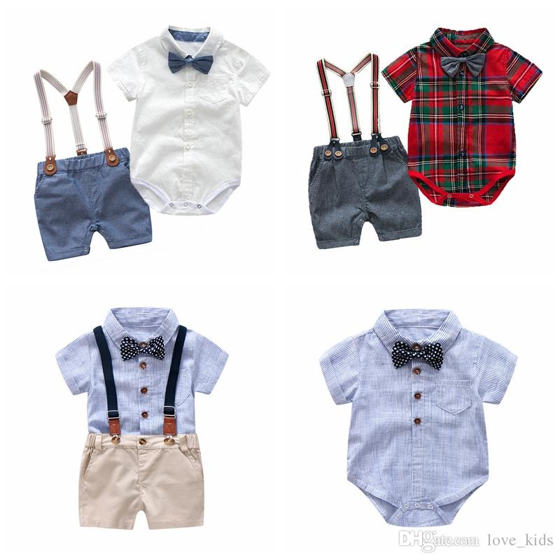 8a15a851f Newborn baby boys formal suit V-neck rompers+suspender shorts pant+bowknot  tie boy clothing set kids boutiques clothes