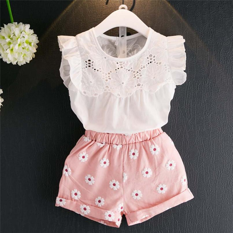 5bd02a5fbbb8 2019 Summer Toddler Kids Girls Sets Lace Sleeveless Outfits Clothes T Shirt Vest  Tops+Shorts Pants Set NDA84L16 From Westbit11
