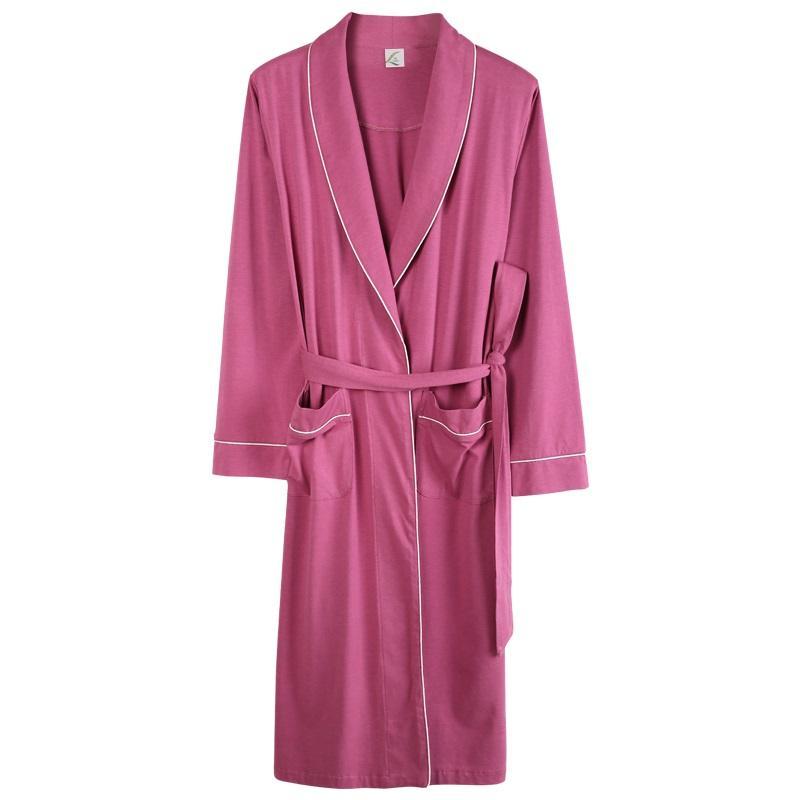 cf4edf0bda18 2019 Simple Pure Color Modal Cotton Robe For Sleep Plus Size M XXXL ...