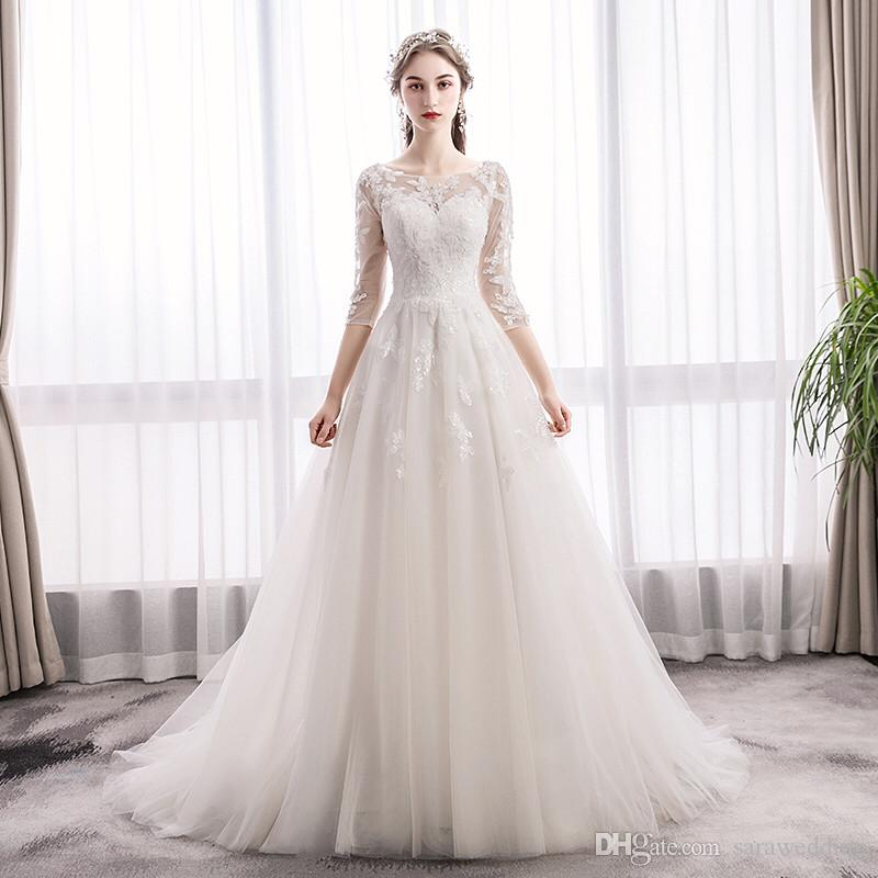 Boho Wedding Dresses with Lace Appliques 2019 Sleeves Lace Up Bridal Gown collier dos nu mariage