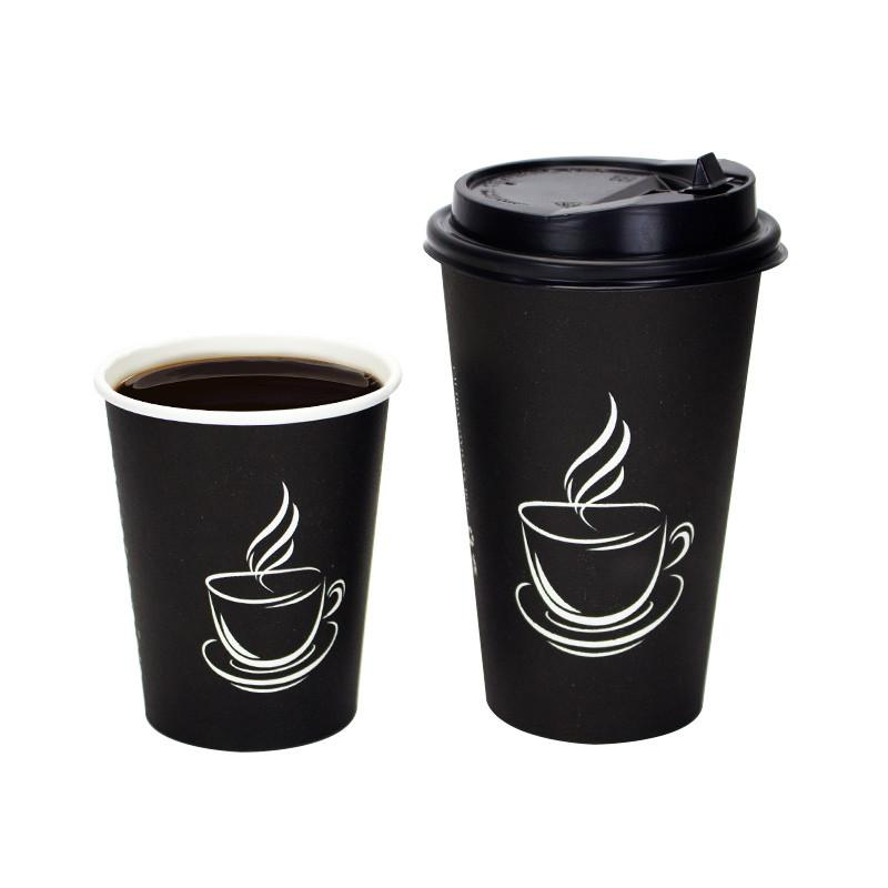 200pcs Black milk tea thick paper cup disposable coffee cup hot drink takeaway package cups party favor beverage cup with lids
