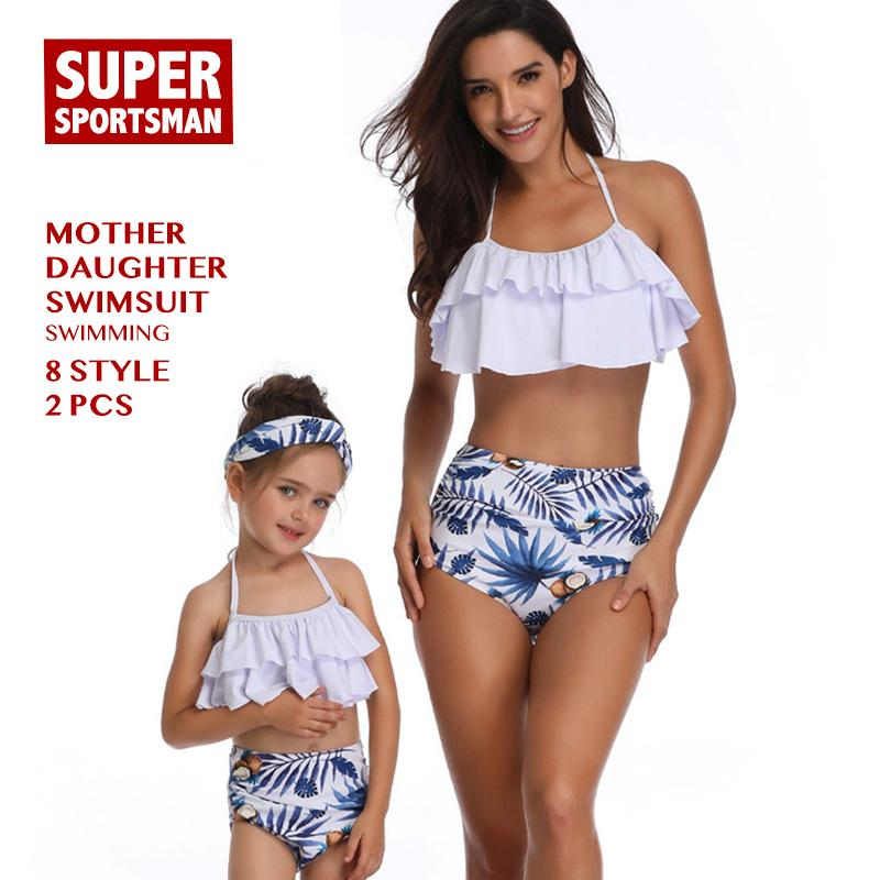 Women Sexy Bikinis Baby Girls Floral Family Swimsuit Kids Swimwear Mother Daughter Beach Biquini Children Bathing Swimming Suits Y19052001