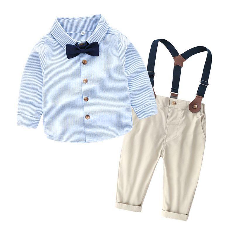 a658d9d74 Compre Calidad Niños Niños Conjuntos De Ropa Larga Camisas Tirantes Azul  Marino Pantalones Vestido De Fiesta Para Niños Uniforme De Guardería Formal  Ropa Co ...