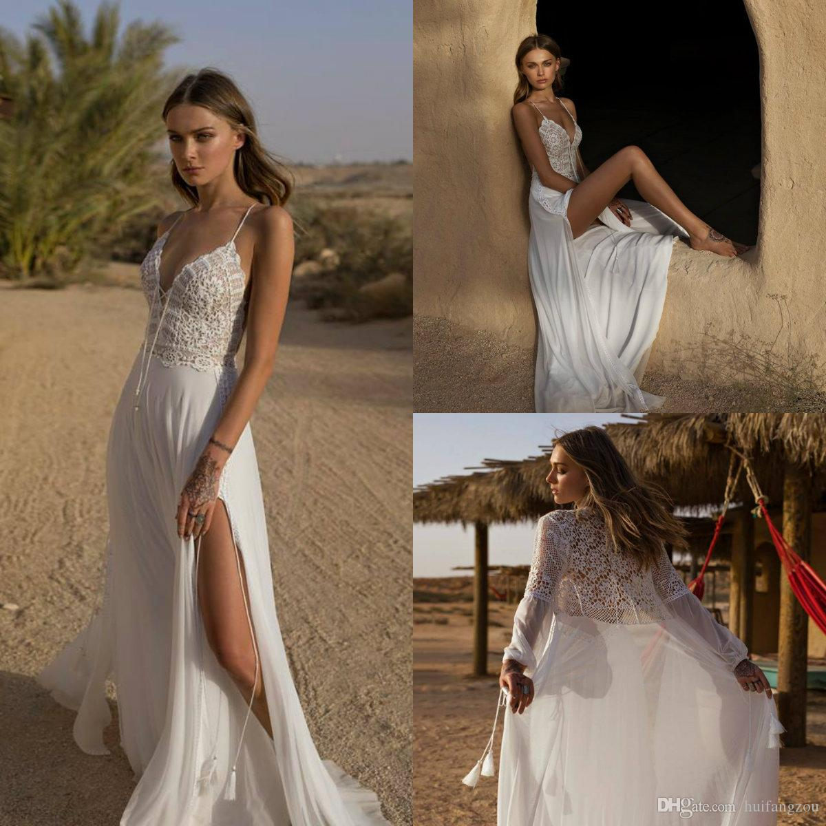 7863a3c52526a Custom Made Summer Boho Wedding Dresses 2019 Asaf Dadush Spaghetti Lace  Thigh High Slits Bridal Gowns with Wrap Chiffon Beach Wedding Dress