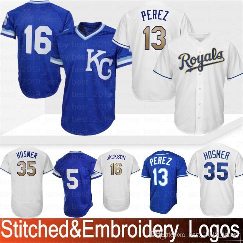 19060f27c77 2019 Embroidery 13 Salvador Perez Kansas City Royals 16 Bo Jackson 4 Alex  Gordon 35 Eric Hosmer 5 George Brett Baseball Jerseys 100% Stitched From ...