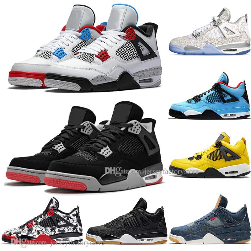 Hot 2019 New Bred 4 4s IV What The Cactus Jack Laser Wings Mens Basketball Shoes Denim Blue Eminem Pale Citron Men Sports Designer Sneakers