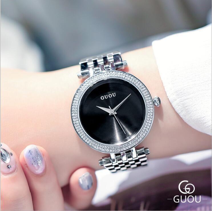 ed76ed35fd58 Compre Guou Moda Exquisito Relojes De Cuarzo Banda De Lujo Pulsera De Acero  Y Plata Reloj Mujer Relogio Feminino C19041203 A  46.18 Del Tong06