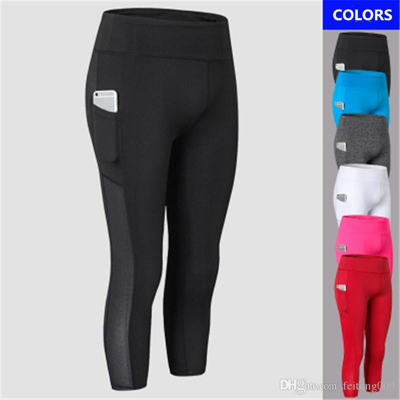 New 3/4 Mesh Yoga Pants Women Sports Clothing Female Sports Wear Fitness Gym Legging Shorts Compression Training Workout Pant #550235