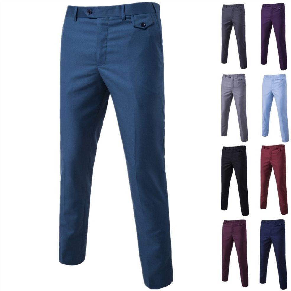 online store ad38f e7831 Pantaloni da completo 2018 Pantaloni eleganti da uomo eleganti Pantaloni  tinta unita Pantaloni lunghi da uomo Pantaloni eleganti slim fit da uomo  nero ...