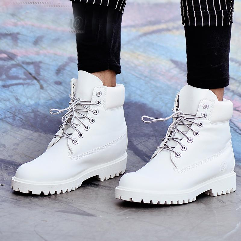 b3484bf80 2018 Fashion Autumn Winter Leather Men Boots Black Casual White Shoes  Platform Rubber Mid Calf Mens Work Boots Plus Size Ujk90 White Boots Black  Boots For ...