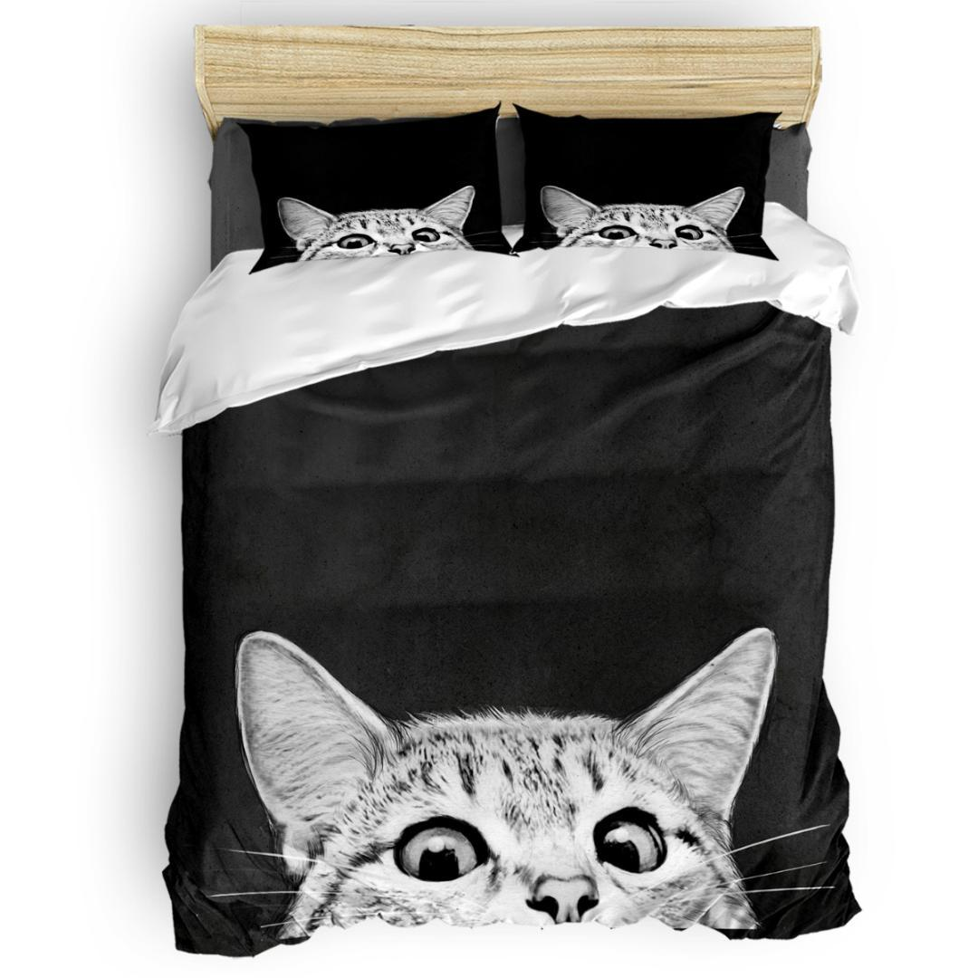 You Asleep Yet Duvet Cover Set Cat Bed Sheets Comforter Cover Pillowcases Twin Full Queen King Size 4pcs Bedding Sets