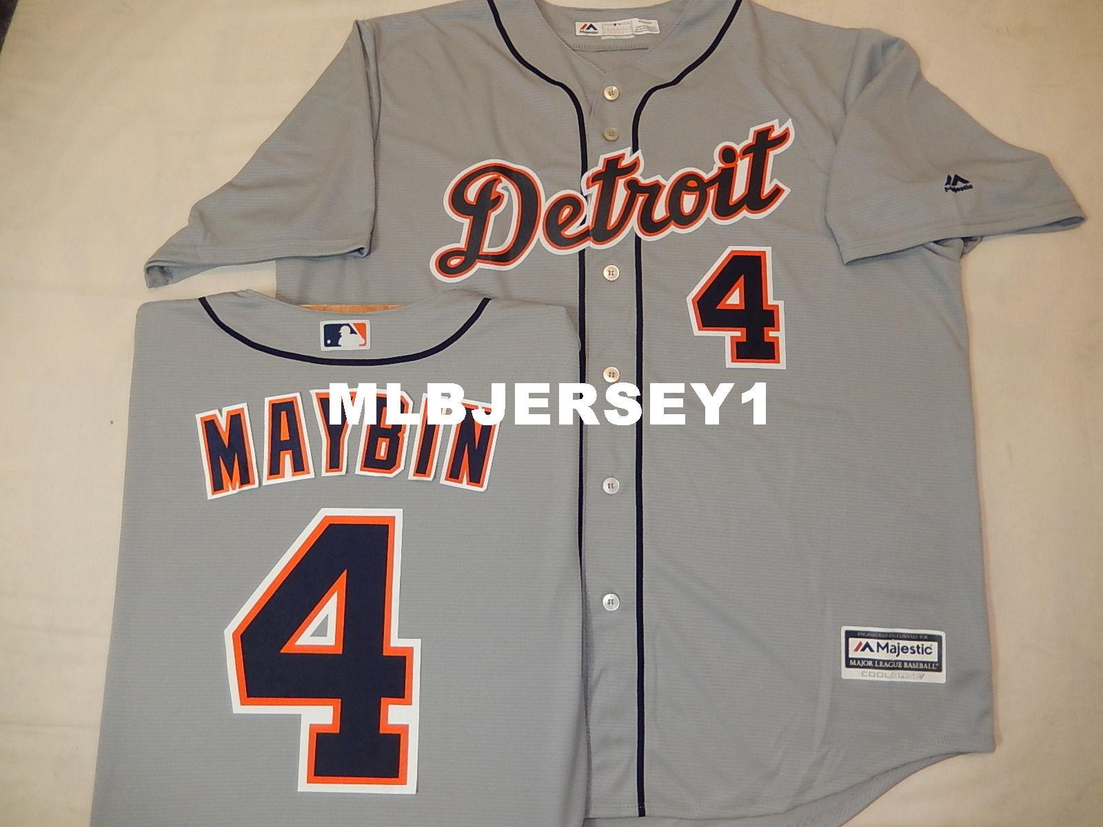 separation shoes 0f9e5 793c0 Cheap custom MENS MAJESTIC Detroit #4 CAMERON MAYBIN Baseball Cool Base  JERSEY GRY Mens stitched jerseys Big And Tall SIZE XS-6XL For sale