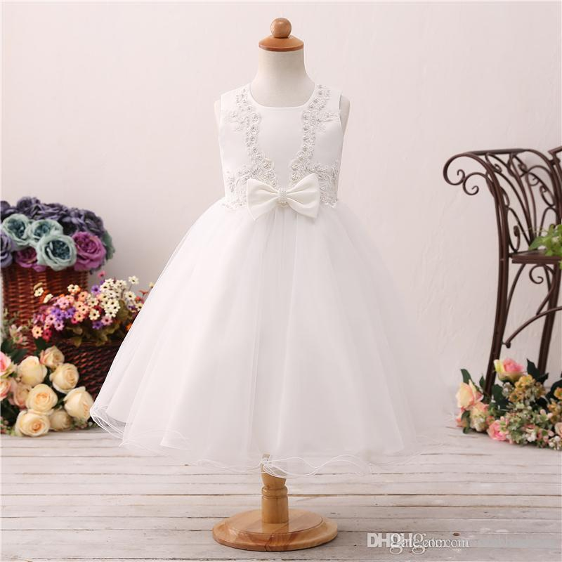 b098db7eb Sweet And Lovely Flower Girl Dress Wedding Thin Net Aapplique Pearl Bow  First Communion Dress T Station Catwalk Costume Flower Dress Girls Dress  Shoes From ...